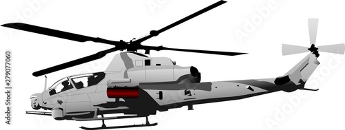 Fotomural Air force. Combat helicopter. Vector illustration