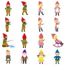 Gnome Icons Set. Flat Set Of G...