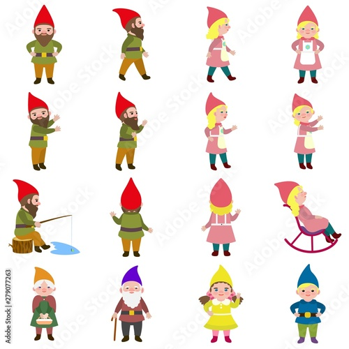 Photo Gnome icons set. Flat set of gnome vector icons for web design