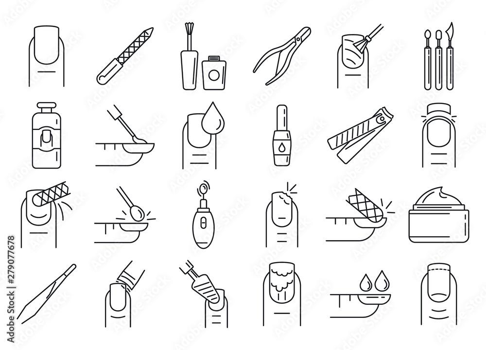 Fototapety, obrazy: Nail manicure icons set. Outline set of nail manicure vector icons for web design isolated on white background