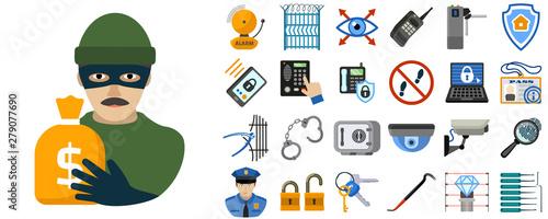 Obraz na płótnie Burglar icons set