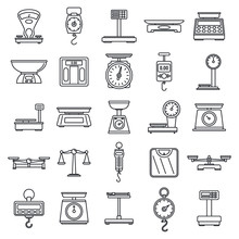 Digital Weigh Scales Icons Set. Outline Set Of Digital Weigh Scales Vector Icons For Web Design Isolated On White Background