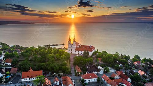 Tihany, Hungary - Aerial skyline view of the famous Benedictine Monastery of Tih Wallpaper Mural