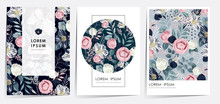 Vector Illustration Of Beatiful Floral Frame Set In Spring For Wedding, Anniversary, Birthday And Party. Design For Banner, Poster, Card, Invitation And Scrapbook