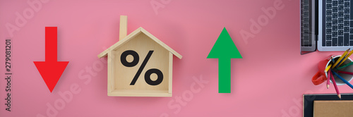 Mortgage rates business concept of investment housing  real estate interest rate Wallpaper Mural