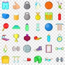 Bodybuilding Icons Set. Cartoon Style Of 36 Bodybuilding Vector Icons For Web For Any Design