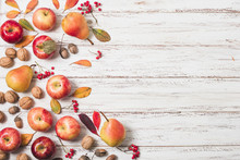 Flat Lay Autumn Fruit Copy Space