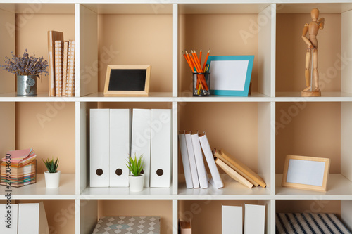 Fotomural Home office working space. white shelf with accessories