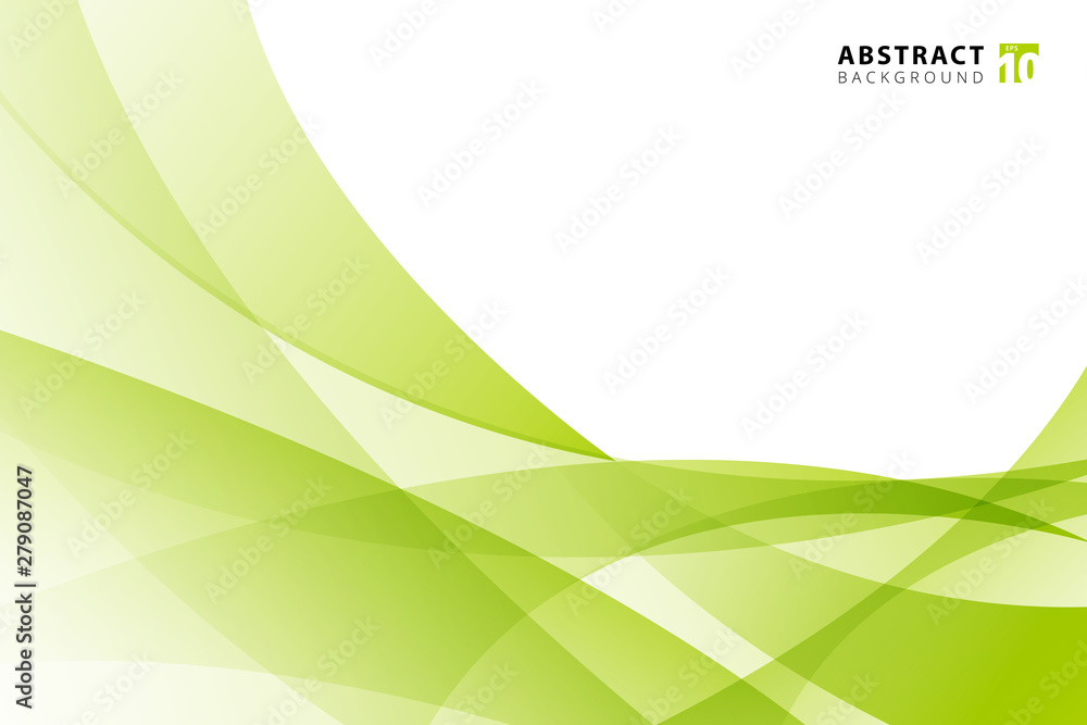 Fototapety, obrazy: Abstract modern light green wave element on white background with copy space.