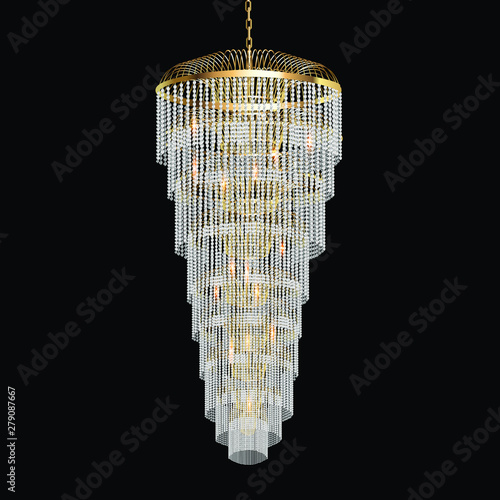 Fotomural illustration of a chandelier with crystal pendants on the black