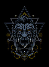 King Of Lion With Dark Crown A...