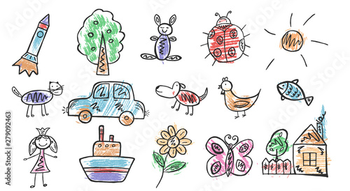 Foto auf Leinwand Cartoon cars Children's doodles. Hand drawing. Vector graphics. Eps