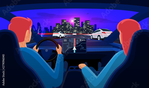 Couple Driving Electric Car On Highway Traffic Jam To City Man Driver Woman Inside Car Interior On Road Trip Dashboard Display Vector Cartoon Style With Night Skyline Panoramic Perspective Horizon Buy