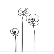 Flower One Line Continuous Dra...