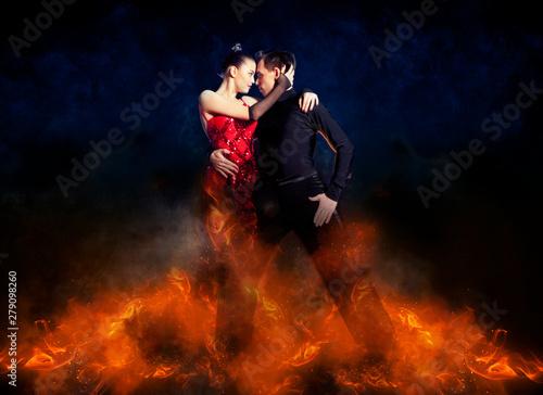 Pair of dancers dancing ballroom Tablou Canvas