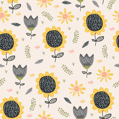 Sun flower pattern drawing background. Seamless hand drawn floral botanical design vector illustration for textile print.