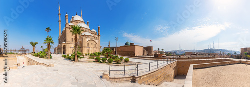 Poster Con. Antique Cairo Citadel panorama, beautiful day view, Egypt