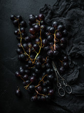 Dark Grapes Top View Flatlay W...