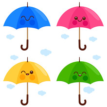 Vector Set Of Cute And Colorful Umbrella Characters.