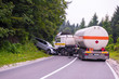 canvas print picture - Truck and Car crash accident