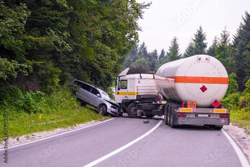 Truck and Car crash accident Canvas Print