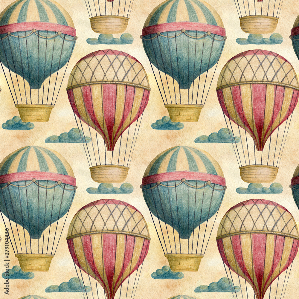 Steampunk vintage seamless pattern with air balloons and clouds. Hand drawn colored pencil illustration.