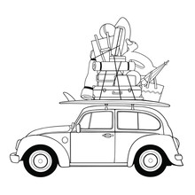 Vector Car With Luggage On White