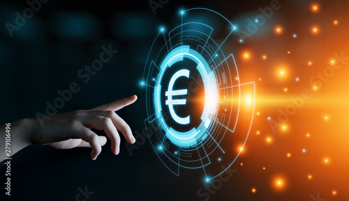 Cuadros en Lienzo Euro Currency Money Symbol Icon Sign. Business Finance Concept