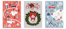 Set Of Cute Christmas Background, Winter Wonderland Polar Bear And Rats Celebration In Christmas Day. Merry Chrismas Greeting Card