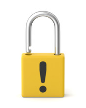 3d Rendered Yellow Warning Padlock On A White Background.