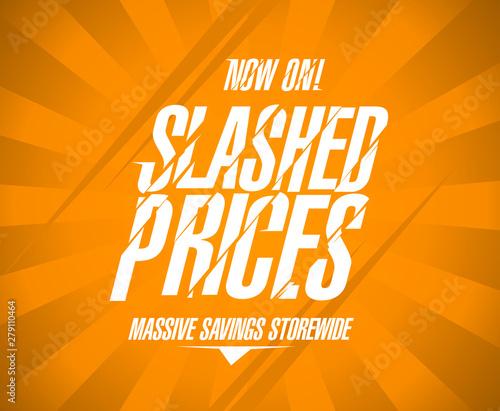 Fotografie, Obraz  Slashed prices banner, massive savings storewide