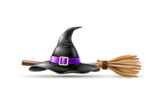 Vector Halloween Holiday Elements - Realistic Witch Pointed Hat, Broom On Isolated Background. Autumn Traditional Trick Or Treat Spooky Event, Scary And Magic Design
