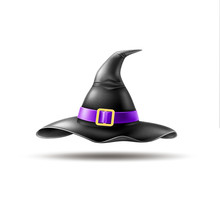 Vector Halloween Holiday Element - Realistic Witch Pointed Hat With Buckle, Purple Belt On Isolated Background. Autumn Traditional Trick Or Treat Spooky Event, Scary And Magic Design