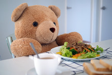 Teddy Bear Eating Breakfast At...