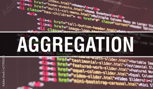 Photo Aggregation concept illustration using code for developing programs and app