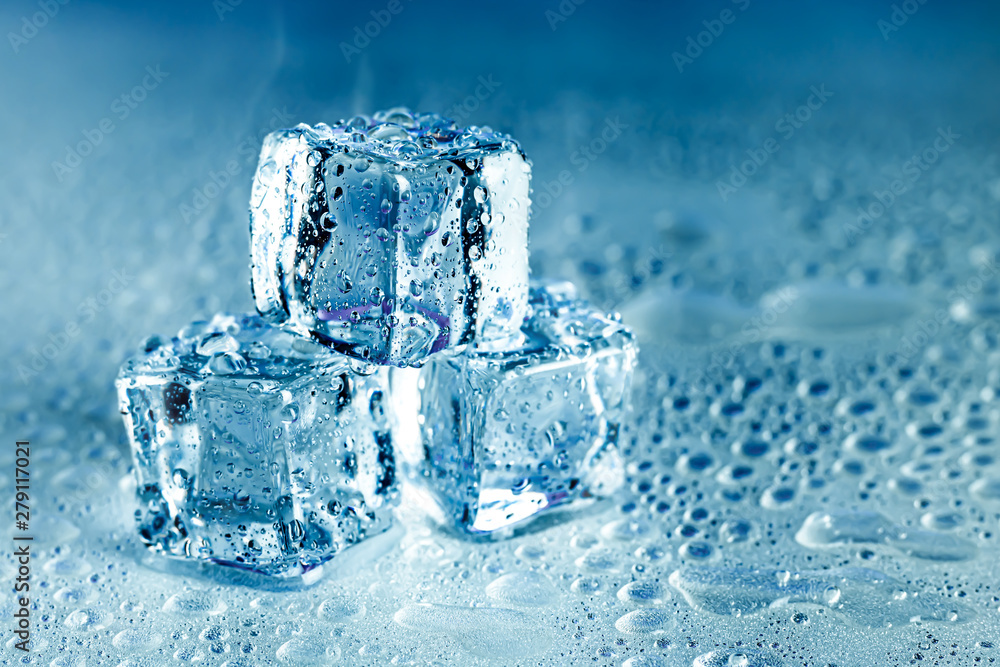 Fototapety, obrazy: Ice cubes and water melt on cool background. Ice blocks with cold drinks or beverage.