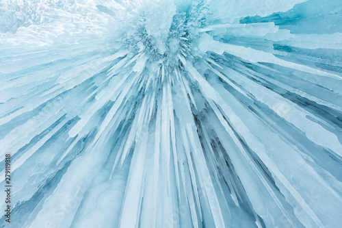 Huge icicles in the ice grotto on Lake Baikal in winter, Siberia, Russia Fototapet