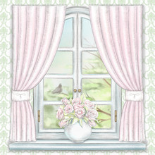 Composition With Vase With Roses On The Sill Of The Window With Pink Curtains And Summer Landscape On Green Wallpaper. Watercolor And Lead Pencil Graphic Hand Drawn Illustration