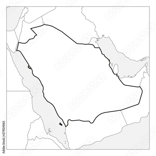Map of Saudi Arabia black thick outline highlighted with ... Saudi Neighbors Map on south africa map, tunisia map, kuwait map, dubai map, iraq map, oman map, bangladesh map, germany map, yemen map, soviet union map, syria map, philippines map, singapore map, sudan map, japan map, morocco map, jordan map, ksa map, bahrain map, china map,