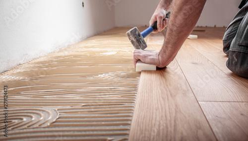Obraz na płótnie Handwerker verlegt Parkettboden und streicht den Estrich mit Kleber ein und schl