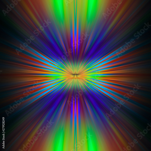 Poster Psychedelic Bright rays of different colors shine from the center