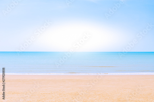 Poster Tropical plage Abstract Yellow sand beach, blue sky and calm tropical sea landscape.Location Tien Beach Phetchaburi Province Thailand