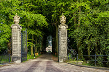 Leiden, Holland, Netherlands, May 22, 2019, The Gates And Road To The MedievalCastle (Kasteel) Oud Poelgeest, 1668 In Oegstgeest, The Former Home Of The Dutch Scientist Herman Boerhaave (1668-1738)