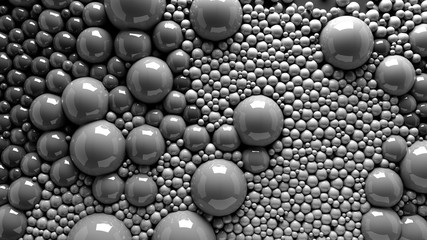 4k 3d animation of spheres and balls in a organic motion background. Top view of bubbles paint
