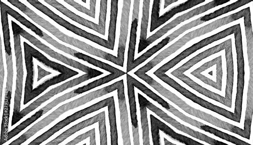 Fototapety, obrazy: Black and white Geometric Watercolor. Creative Sea