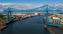 The Tees Transporter Bridge That Crosses The River Tees Between Stockton And Middlesbrough. The Bridge Is Made Of Steel And Over 100 Years Old