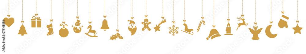 Fototapeta collection of hanging christmas icons