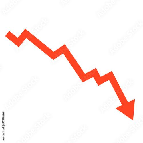 Slika na platnu Stock or financial market crash with red arrow flat vector illustrations for web