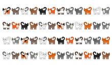 Various Cats Border Set. Cute ...