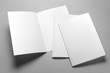canvas print picture - Blank half-folded booklet, postcard, flyer or brochure mockup template on gray background